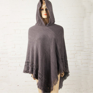 Wholesale- New Hot Tassel Lady Knitted Poncho Irregularity Sweep Hooded Coat Women Batwing Sleeve Sweater Outwear