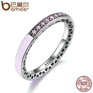 yizhan BAMOER 100% стерлингового серебра 925 сияющие сердца, светло-розовый эмаль ясно CZ палец кольцо женщины свадебные украшения PA7603