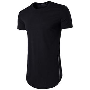 Yeni Eğilimler Erkekler T Shirt Süper Longline Uzun Kollu T-Shirt Hip Hop Ark Hem Eğri Hem Yan Zip Ile Tops Tee