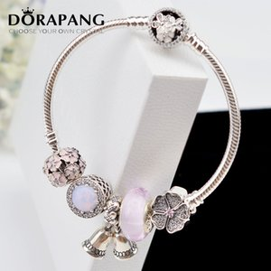 DORAPANG 925 Sterling Silver Charm Beads Fashion Pink Flower Series Collocation Bracelet Suitable For Women DIY Bangles Send The Boxs