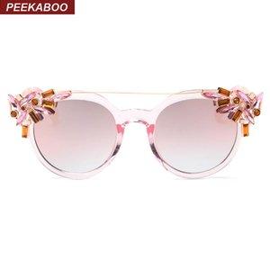 Peekaboo all'ingrosso moda di lusso strass cat eye occhiali da sole donne progettista telaio trasparente signore occhiali da sole riflettenti
