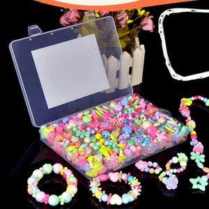 Crianças De Plástico Doce Acrílico Bead Color Kit Acessórios DIY Bracelectos Pendent Toys Jewelry Making Crianças Beads Set Presentes Criativos para Meninas