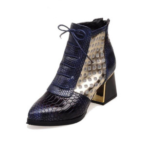 Fashion Pointed toe Snake Print Cross tie Ankle Boot Hoof High Heels Short Boots Autumn Boots Shoes Winter Woman Shoe