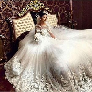 Princesse De Luxe Cathédrale Train Vintage Robes De Mariée 2016 Dentelle Appliques À Manches Longues Tulle Robe De Noiva