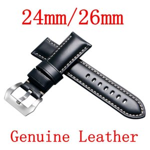 Atacado-Alta Qualidade Preto 24mm / 26mm Durable Homens Mulheres Genuine Leather Watch Strap Watch Band