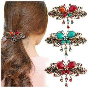 Barrettes Bronze Antique Gemstone Papillon Bijoux de cheveux strass bowknot Barrettes Lady Top Hairpins femmes Couvre-chef Diadèmes gros