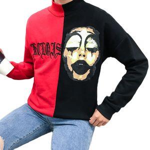 Korean Harajuku Stickerei Clown Hoodies Sweatshirts Männer Frauen Hip Hop Hit Farbe Patchwork Hoodie Männer 3XL