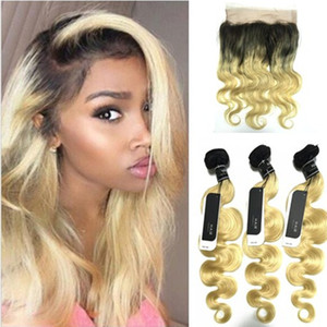 Dark Roots Blonde 360 ​​Lace Frontal con paquetes Two Tone # 1b 613 360 Lace Frontal con Body Wave Hair Wearable 22.5 * 4 * 2