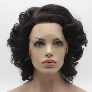 Iwona Saç Dalgalı Kısa Koyu Kahverengi Peruk 24 # 2/6 Yarım El Bağladı Isıya Dayanıklı Sentetik Dantel Ön Peruk