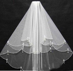 Yüksek kaliteli El Yapımı Boncuk Beyaz Iki Katmanlı Düğün Veils Allık Peçe Kısa Gelin Veils veu de noiva gv10