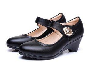 Новая весна 2017 толстая с женской обувью в Европе и Соединенных Штатах кожаные ботинки, рабочая обувь Обувь с моей матерью