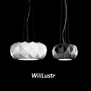 Willlustr Murano nedeniyle Muranodue Leucos lüks kolye lamba beyaz siyah cam elmas aydınlatma otel restoran kafeterya süspansiyon ışık