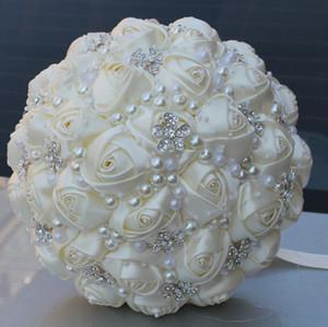 Bouquet de mariée en ivoire Fournitures de mariage Perles de fleurs artificielles Strass Sweet 15 Bouquets de Quinceanera W224-B