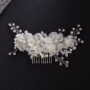 Новые свадебные свадебные бриллиантовые сплавы Rhinestone Pearls Цветы Расчески для волос Hairbands Tiaras Wreath Headdress Hair Accessories