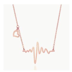 Collar de cardiograma colgante de latido de acero titanium para mujeres niñas plata o oro rosa colgante, collar corto al por mayor