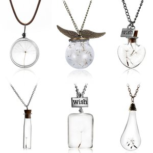 Wholesale- Glass bottle necklace Natural dandelion seed in glass long necklace Make A Wish Glass Bead Orb silver plated Necklace jewelry