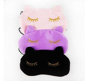 10x Cucommax nette Katze Schlafaugenmaske Nap Cartoon-Augen-Schatten Schlafmaske schwarzer Maske Verband auf Augen für Schlafen