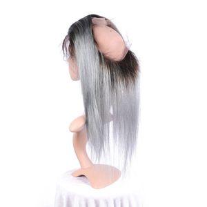 Dos tonos 1B gris Ombre seda peruana virginal recta del pelo humano 360 Pre arrancó cierre frontal de encaje completo 22.5x4x2 '' con el pelo del bebé