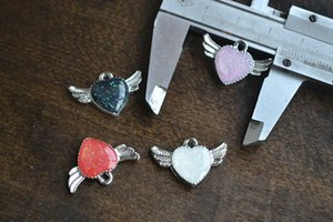 10PCS Love Wings Drop Jewelry Accessories Necklace Pendant   Bracelet Pendant   DIY Handmade Jewelry Parts Mix 4 colors