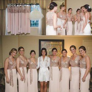 2020 Bling Guaina abiti da sposa con scollo a V oro rosa paillettes Top Sashes floor-lunghezza Chiffon plus size cameriera d'onore Invitato a un matrimonio abito