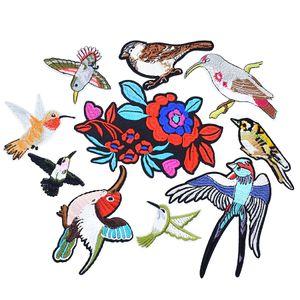 10 UNIDS serie de pájaros de flores parches de bordado para la ropa parche de hierro para la ropa apliques accesorios de coser pegatinas en paño de hierro en el parche
