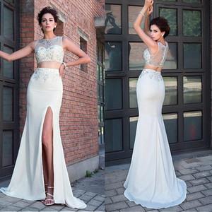 Bateau scollo a due pezzi guaina / a colonna Abiti da ballo con bordi anteriori cristalli da sera vestito da sera vestito vestido formatura longo