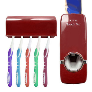 Atacado-Dispensador de Creme Automático + 5 Escova de Dentes Conjunto de Suporte de Montagem na parede escova de dentes Família conjuntos