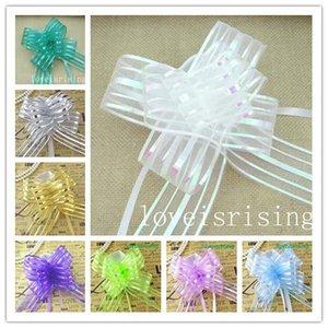 13 colores pick - 50pcs / lot 5 cm de gran tamaño Organza Pull Bows Favores de boda Suministros decoración del coche de la boda