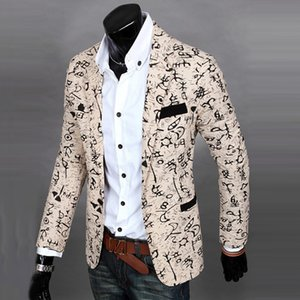 Wholesale- New Mens Floral Casual Long Sleeve Slim Fit Blazer Coat One Button Jacket Stereo clipping cultivate one morality men suit