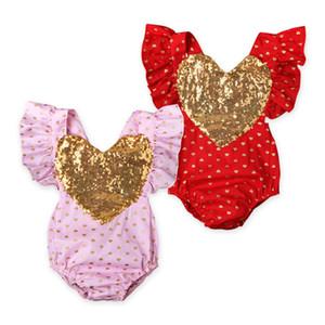 Babyspielanzug INS Sommer-Baby-Pailletten Liebe Herz Strampler Infant Falbala Hülse tupfen Overall Valentinstag Kleidung fliegen