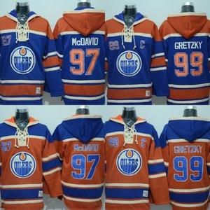 2017-18 Yeni Sezon Edmonton Oilers Hoodies Forması 27 Milan Lucic 4 Kris Russell 99 Wayne Gretzky Kaptan C Yama Tişörtü Hokeyi Formalar