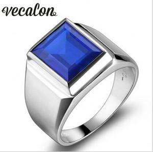 Vecalon gioielli di moda fascia di cerimonia nuziale anello per gli uomini 8ct Pietra 5A zircone Cz Argento 925 Maschio fidanzamento anello di barretta