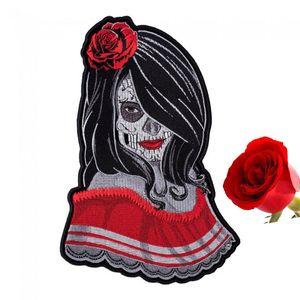 Schöne modische Rose Lady Sugar Skull Temptresse Patch Tag der Toten bestickt Patches Kostenloser Versand