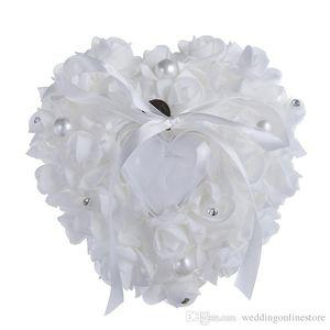 Crystal Pearl Nupcial Anillo Almohadas Crystal Organza Satén Lace Bearer Ring Almohada Cinta Rose Flower Wedding Ring Almohadas Anillo 6 colores