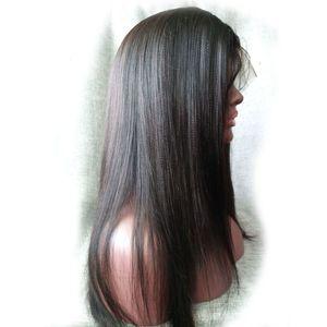 Яки прямой полный парик шнурка передний парик шнурка Реми бразильский Virign человеческих волос Бесплатная доставка DHL