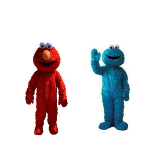 Sesame Street Red Elmo Mascot Costumes Long fur red monster Halloween Mascot s cartoon Costumes