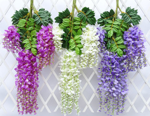 Vite fiori artificiali glicine simulazione rattan fiore brackplant stringa pianta decorazione della parete della casa per la cerimonia nuziale 2017 nuovo arrivo