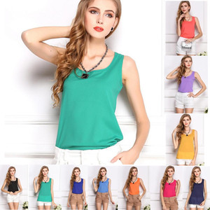 Wholesale- Plus Size 3XL shirts women casual tops tees sleeveless o-neck solid vest 2017 new loose chiffon shirt summer T shirts