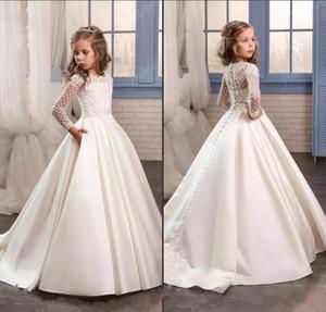 Principessa Pizzo bianco Flower Girl Dresses 2017 New Sheer Maniche lunghe Prima Comunione Abiti da festa di compleanno Girls Pageant Dress For Weddings
