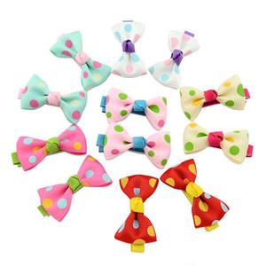 Baby Bow Clip per capelli Colore Solido / Polka Dot Flower Stampa Ribbon Bow Hairpin BB Hair Clips per Neonate Kids Accessori per capelli