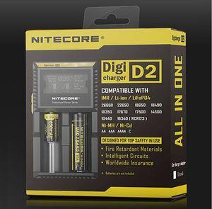 Caricabatterie digitale originale Nitecore D2 Caricabatterie universale intelligente LCD per Sony VTC5 Samsung 25r LG HG2 18650 Batterie