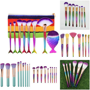 Mermaid Blending Makeup Brush Sets 3D Flower Foundation Cosmetic Brush Kit de cepillo de diamante Thread Cosmética Make Up Rainbow Brushes Set