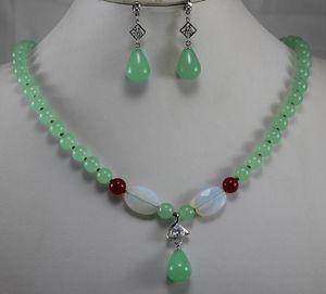 Prett Lovely Wedding Jewelry 12mm Blue Jade Pendant Necklace Orecchini Set di anelli