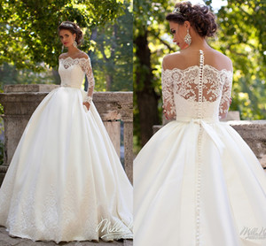 Long Sleeves Wedding Dresses Sheer Neckline Appliques Sweep Train Chapel Country Bridal Gowns Vestido De Noiva Plus Size Customized 2020