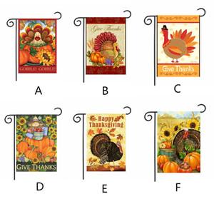 Lovely Cartoon Design Garden Flag Hot Thanksgiving Garden Banners Retro Estilo de dibujos animados Garden Banner Home Decoration 30 * 45cm