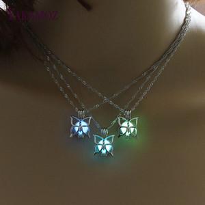 Süßeste schmetterling halskette im dunkeln leuchten 3 farben leuchtende schmuck charme choker vintage anhänger halsketten frauen beste geschenk