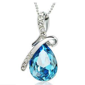 925 Посеребренного ожерелье Роскошных Blue Crystal Angel Tear себе ювелирные изделия Bohemian Свадебный Рождественский подарок