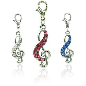 Wholesale Floating Lobster Clasp Charms Dangle Rhinestone Music Note Pendants DIY Charms For Jewelry Making Accessories