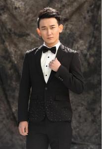 мужчины Алмаз костюмы дизайн homme Терно сценические костюмы для певцов мужчины блейзер танцевальная одежда куртка звезда стиль платье панк черный