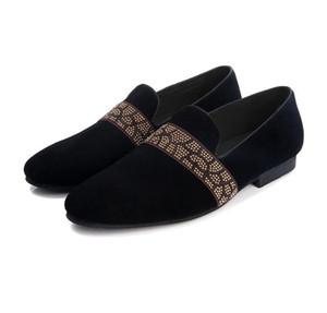 Nuevos zapatos de cuero negro de gamuza de cuero genuino para hombres Mocasines Zapatillas de fumar Vestido de fiesta y fiesta Zapatos de vestir masculinos